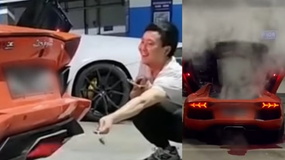 Griglia la carne con lo scappamento: ustionato e Lamborghini in fumo – VIDEO